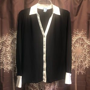 CACHE Sheer Black Top Shirt Silk Blouse M Dressy